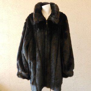 Faux Fur Zip Jacket Coat Teddy Coat NWOT